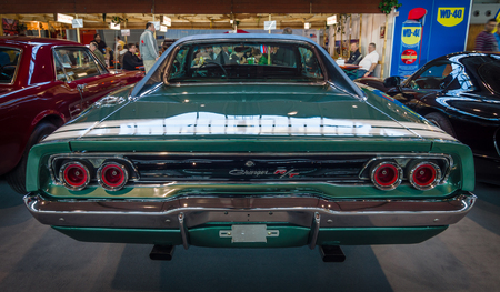 rt: STUTTGART, GERMANY - MARCH 17, 2016: Muscle car Dodge Charger RT, 1968. Rear view. Europes greatest classic car exhibition RETRO CLASSICS