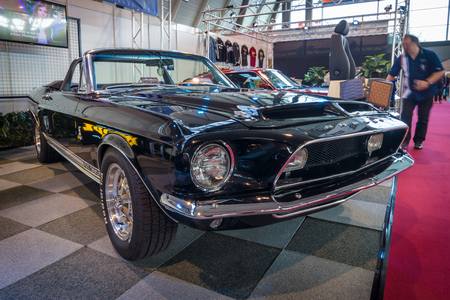 mustang gt: STUTTGART, GERMANY - MARCH 17, 2016: Pony car Shelby Cobra GT 350 Convertible Tribute, 1968. Europes greatest classic car exhibition RETRO CLASSICS