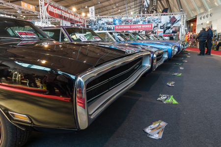 rt: STUTTGART, GERMANY - MARCH 17, 2016: Various Dodge Charger (Muscle car), modesl 500 and RT are standing in a row. Europes greatest classic car exhibition RETRO CLASSICS