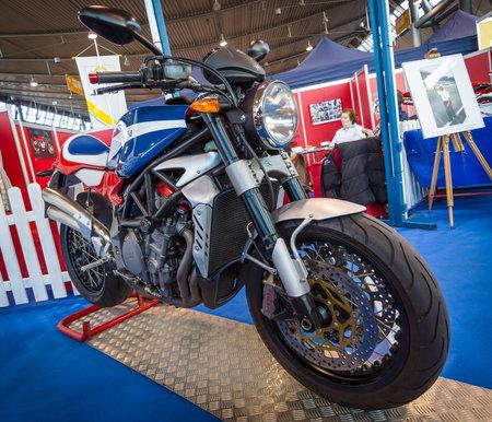 classics: STUTTGART, GERMANY - MARCH 17, 2016: The bike MV Agusta F4 Magni Storia, 2014. Europes greatest classic car exhibition RETRO CLASSICS