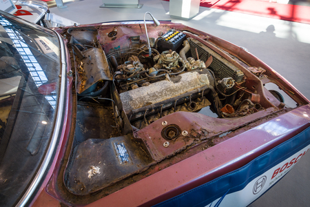 dirty car: STUTTGART, GERMANY - MARCH 17, 2016: A dirty and defective engine of the car BMW E9 Coupe, 1970. Europes greatest classic car exhibition RETRO CLASSICS Editorial