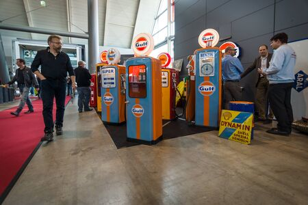 gas distribution: STUTTGART, GERMANY - MARCH 17, 2016: Sales and distribution of refrigerators and showcases in the form of gas stations. Europes greatest classic car exhibition RETRO CLASSICS