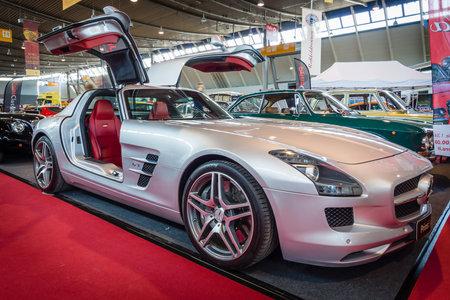 classics: STUTTGART, GERMANY - MARCH 18, 2016: Supercar Mercedes-Benz SLS AMG 6,3 Coupe, 2010. Europes greatest classic car exhibition RETRO CLASSICS