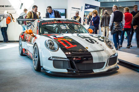 STUTTGART, GERMANY - MARCH 18, 2016: Sports car Porsche 911 GT3 Cup (Typ 911), 2016. Europes greatest classic car exhibition RETRO CLASSICS Editorial