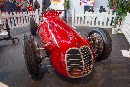 formula one: STUTTGART, GERMANY - MARCH 18, 2016: The racing car a Formula One Maserati 4CLT, 1948. Europes greatest classic car exhibition RETRO CLASSICS Editorial