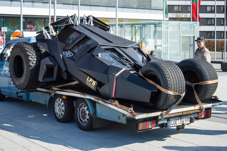 custom car: STUTTGART, GERMANY - MARCH 18, 2016: Custom car Tumbler, Batmobile on the basis of the buggy. Europes greatest classic car exhibition RETRO CLASSICS