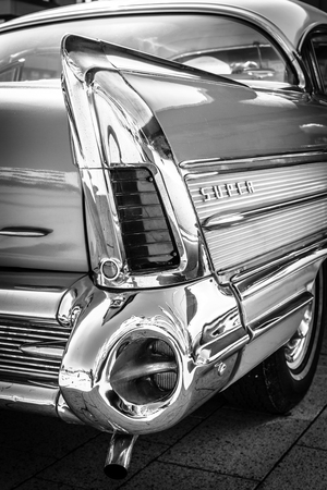 stoplights: STUTTGART, GERMANY - MARCH 18, 2016: Fragment of Buick Super Rivera (rear brake lights), 1958. Black and white.  Europes greatest classic car exhibition RETRO CLASSICS