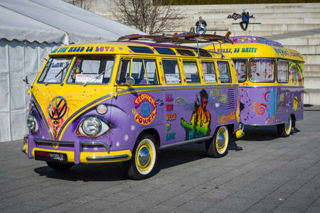deluxe: STUTTGART, GERMANY - MARCH 18, 2016: Van Volkswagen T1 Deluxe (Samba Bus) with a trailer, 1966. Europes greatest classic car exhibition RETRO CLASSICS Editorial