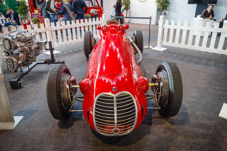 formula one racing: STUTTGART, GERMANY - MARCH 18, 2016: The racing car a Formula One Maserati 4CLT, 1948. Europes greatest classic car exhibition RETRO CLASSICS Editorial
