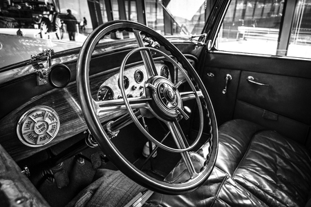 typ: STUTTGART, GERMANY - MARCH 18, 2016: Cabin of luxury car Mercedes-Benz Typ Nuerburg 500, 1933. Black and white.  Europes greatest classic car exhibition RETRO CLASSICS