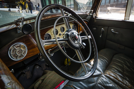 typ: STUTTGART, GERMANY - MARCH 18, 2016: Cabin of luxury car Mercedes-Benz Typ Nuerburg 500, 1933. Europes greatest classic car exhibition RETRO CLASSICS Editorial