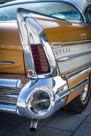 stoplights: STUTTGART, GERMANY - MARCH 18, 2016: Fragment of Buick Super Rivera (rear brake lights), 1958. Europes greatest classic car exhibition RETRO CLASSICS