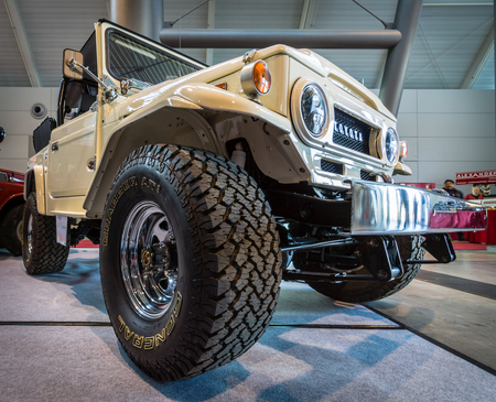 cruiser: STUTTGART, GERMANY - MARCH 18, 2016: Compact SUV Toyota Land Cruiser J40, 1977. Europes greatest classic car exhibition RETRO CLASSICS