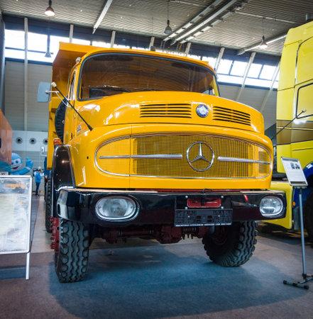 classics: STUTTGART, GERMANY - MARCH 18, 2016: Heavy truck Mercedes-Benz LAK 2624 6X6 Mulde, 1974. Europes greatest classic car exhibition RETRO CLASSICS