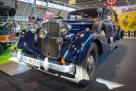 lieutenant: STUTTGART, GERMANY - MARCH 18, 2016: Vintage car Maybach SW38, 1938, during the time of Nazi Germany belonged to Lieutenant General SS George Ebrecht. Europes greatest classic car exhibition RETRO CLASSICS