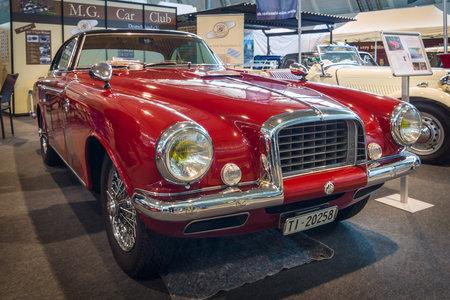 td: STUTTGART, GERMANY - MARCH 18, 2016: Vintage car MG TD by coachbuilder Carrozzeria Vignale, 1952. Europes greatest classic car exhibition RETRO CLASSICS Editorial