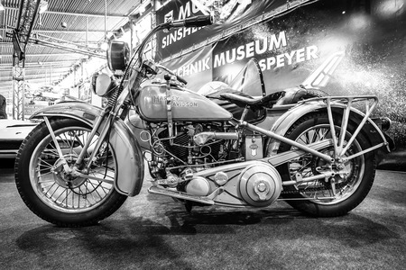 sidecar: STUTTGART, GERMANY - MARCH 18, 2016: Motorcycle Harley-Davidson VVI Gespann, 1931. Black and white. Europes greatest classic car exhibition RETRO CLASSICS