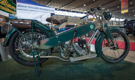 co: STUTTGART, GERMANY - MARCH 18, 2016: Motorcycle Hocco, by Hoco-Werk Hohmeyer & Co., 1926. Europes greatest classic car exhibition RETRO CLASSICS Editorial