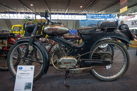 typ: STUTTGART, GERMANY - MARCH 18, 2016: Serial motorcycle Laverda 75 Typ 1, 1951. Europes greatest classic car exhibition RETRO CLASSICS Editorial
