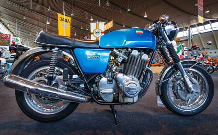 serial: STUTTGART, GERMANY - MARCH 18, 2016: The serial model motorcycle Laverda 10001, 1972. Europes greatest classic car exhibition RETRO CLASSICS