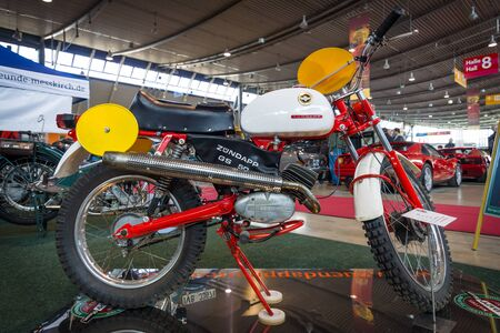 STUTTGART, GERMANY - MARCH 18, 2016: Motorcycle Zuendapp GS 50 Racing Replica (Typ 510-40LO), 1966. Europes greatest classic car exhibition RETRO CLASSICS Editorial