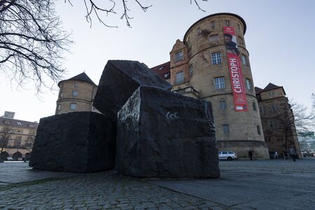 socialism: STUTTGART, GERMANY - MARCH 18, 2016: Memorial for the Victims of National Socialism on the background of the Old Castle.