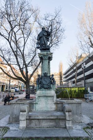 heinrich: STUTTGART, GERMANY - MARCH 18, 2016: Source Water Nachtwaechterbrunnen (The fountain Night watchman) by Heinrich Halmhuber, 1900.