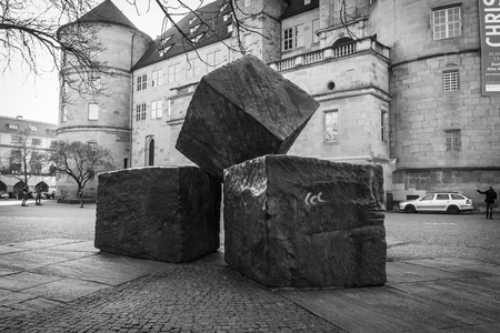 socialism: STUTTGART, GERMANY - MARCH 18, 2016: Memorial for the Victims of National Socialism on the background of the Old Castle. Black and white.
