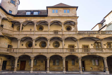 10th: STUTTGART, GERMANY - MARCH 18, 2016: Inner courtyard of the Old Castle (10th century). Stuttgart is the capital and largest city of the state of Baden-Wuerttemberg.