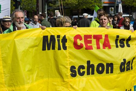 demonstration: BERLIN - MAY 01, 2016: Members of trade unions, workers and employees at the demonstration on the occasion of Labour day. Editorial