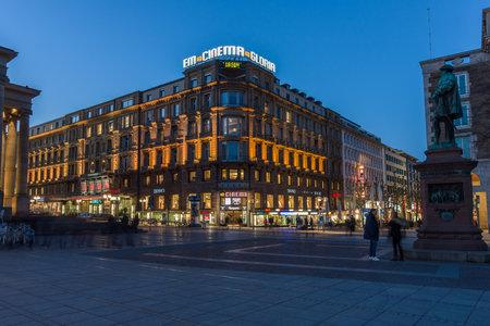 king street: STUTTGART, GERMANY- MARCH 16, 2016: The historic shopping street in the central part of the city - Koenigstrasse (King Street) and Schlossplatz.
