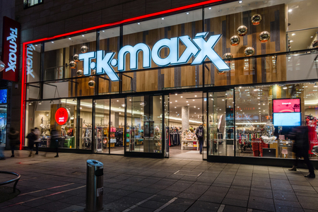 king street: STUTTGART, GERMANY- MARCH 16, 2016: The historic shopping street in the central part of the city - Koenigstrasse (King Street), and a showcase well-known store TK Maxx.