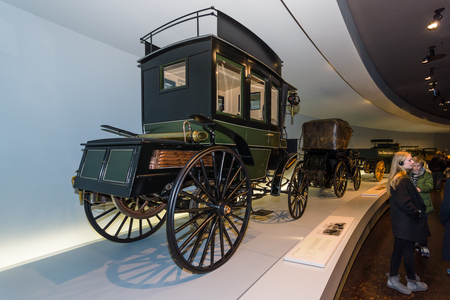 motorized: STUTTGART, GERMANY- MARCH 19, 2016: The first bus Benz Omnibus (Benz motorized bus), 1895. Mercedes-Benz Museum.