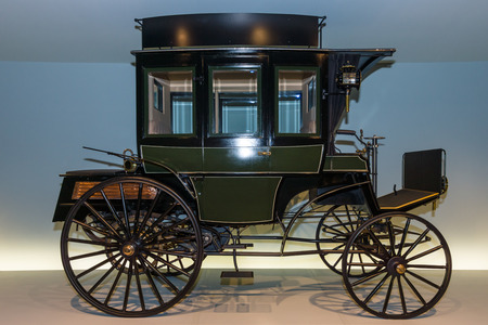 omnibus: STUTTGART, GERMANY- MARCH 19, 2016: The first bus Benz Omnibus (Benz motorized bus), 1895. Mercedes-Benz Museum.