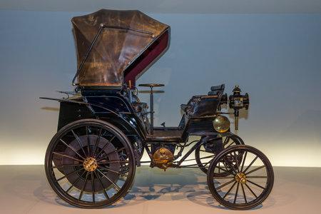 STUTTGART, GERMANY- MARCH 19, 2016: Vintage car Daimler Riemenwagen Vis-a-Vis (Daimler belt-driven car), 1896. Mercedes-Benz Museum. Editorial