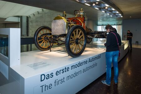 mercedes: STUTTGART, GERMANY- MARCH 19, 2016: The chassis Mercedes 35 PS, 1906. Mercedes-Benz Museum. Editorial