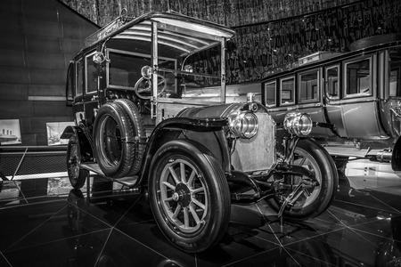 ps: STUTTGART, GERMANY- MARCH 19, 2016: Vintage car Benz 2035 PS Landaulet, 1909. Black and white. Mercedes-Benz Museum.