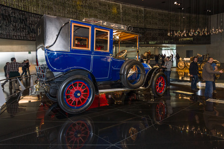 ps: STUTTGART, GERMANY- MARCH 19, 2016: Vintage car Benz 2035 PS Landaulet, 1909. Mercedes-Benz Museum. Editorial