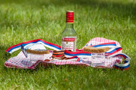 black bread: BERLIN - MAY 09, 2016: Victory Day in Treptower Park (Soviet war memorial). Mass grave of fallen soldiers and officers who liberated Berlin from the Nazis. Russian tradition at the grave - vodka, black bread and cigarettes.