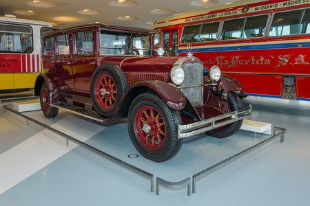 ps: STUTTGART, GERMANY- MARCH 19, 2016: Vintage car Mercedes-Benz 1255 PS Pullman-Limousine, 1927. Mercedes-Benz Museum.