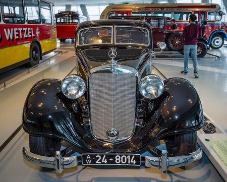 STUTTGART, GERMANY- MARCH 19, 2016: Large luxury car Mercedes-Benz Typ 320 (W142II), Stromlinien-Limousine, 1939. Mercedes-Benz Museum.