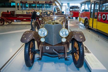 STUTTGART, GERMANY- MARCH 19, 2016: Vintage car Mercedes-Knight 1645 PS Tourer, 1921. Mercedes-Benz Museum.