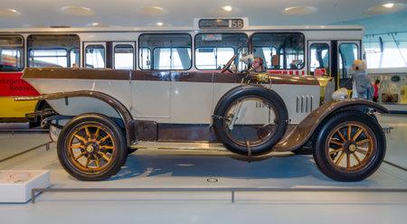 ps: STUTTGART, GERMANY- MARCH 19, 2016: Vintage car Mercedes-Knight 1645 PS Tourer, 1921. Mercedes-Benz Museum.