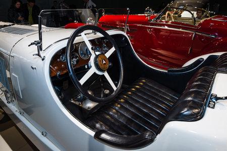 ps: STUTTGART, GERMANY- MARCH 19, 2016: Cabin of a sports car Mercedes-Benz 27170225 PS SSK (Super-Sport-Kurz (DE) - Super Sport Short (EN)), 1928. Mercedes-Benz Museum.