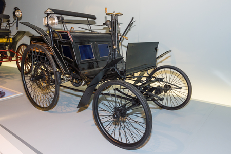 velocipede: STUTTGART, GERMANY- MARCH 19, 2016: Benz Motor Velocipede also known as Velo, 1884. Mercedes-Benz Museum.