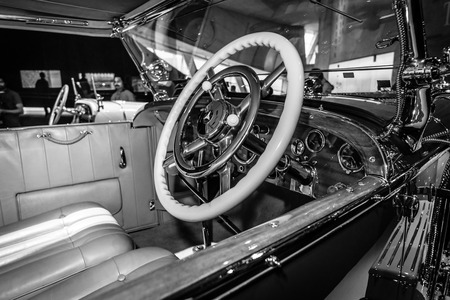 typ: STUTTGART, GERMANY- MARCH 19, 2016: Cabin of luxury car Mercedes-Benz Typ SS (Super Sport), 1930. Black and white. Mercedes-Benz Museum.