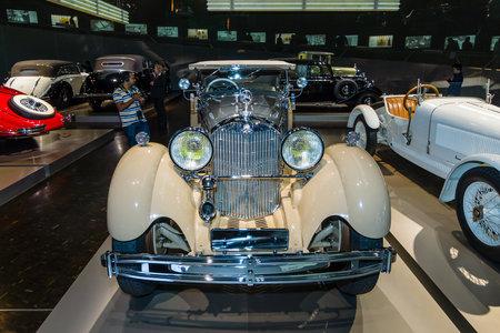 typ: STUTTGART, GERMANY- MARCH 19, 2016: Luxury car Mercedes-Benz Typ SS (Super Sport), 1930. Mercedes-Benz Museum.