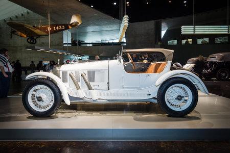 ps: STUTTGART, GERMANY- MARCH 19, 2016: Sports car Mercedes 1040 PS, 1923. Mercedes-Benz Museum. Editorial