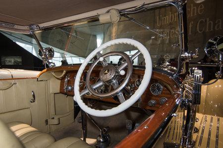 typ: STUTTGART, GERMANY- MARCH 19, 2016: Cabin of luxury car Mercedes-Benz Typ SS (Super Sport), 1930. Mercedes-Benz Museum.