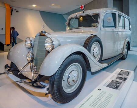 typ: STUTTGART, GERMANY- MARCH 19, 2016: Ambulance on the basis of Mercedes-Benz Typ 320 (W142), 1937. Mercedes-Benz Museum.